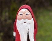 Hand Carved Cottonwood Bark Santa--Robin Arnold, wood carving,Wooden Christmas Art, Rustic, Folk Art, Handmade in Ohio