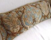 VELVET DAMASK designer decorative pillow 10x25 includes insert