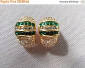 Half Off Sale Vintage Unsigned Christian Dior Emerald Green Clear Crystal Earrings