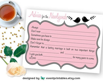 Advice for the Newlyweds Mad Libs, Printable Bridal Shower Game Cards, Love Birds Wedding Libs in Pink, DIGITAL DOWNLOAD by Event Printables
