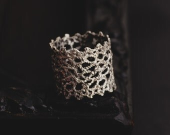 Sterling Silver Lace Ring-Lace Ring-Wide Band Ring-Statement Rings-Unique Rings-Romantic Jewellery