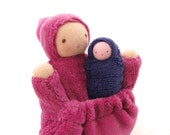 Pocket doll natural fiber waldorf toy raspberry pink mother baby PMC1