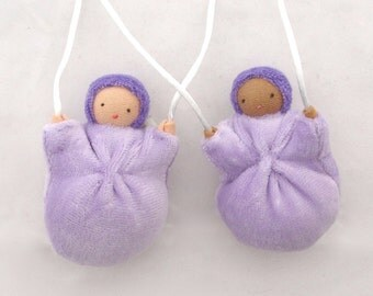 Necklace Doll // Lavender Filled Doll // Waldorf Toy // Children's Necklace // Pale Purple // Scented Doll // NDP1