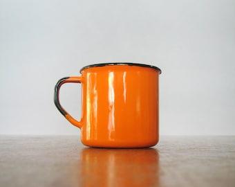 Mid Century Enamel Finel Style Cup / Mug - Orange / White