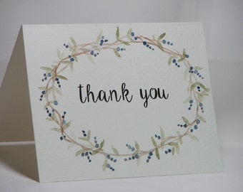 OOAK Handpainted Wreath Thank You Greeting Card
