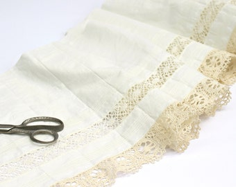 "Vintage Cotton Fabric with Crochet Lace Edge - By The Yard - Cream White - Pale Ivory - Pintucks - New Old Stock - 12"" Wide Edging Fabric"