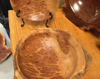 Yellow Box Burl Set of Two Bowls