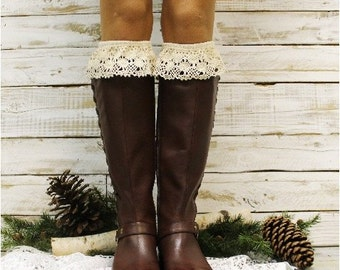 Lace socks tall, Boot Socks women in Ivory | tall knee socks | boho chic style hosiery | socks for boots | boot cuffs | leg warmers  | BKS6
