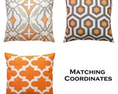 CLEARANCE Decorative Pillow Cover, Cinnamon Orange Pillow, 16x16 Zippered Pillow, Cushion Cover, Orange Designer Pillow, Couch Throw Pillows