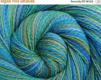 Hand Spun Yarn, 3 ply - CARIBBEAN MIST - Hand painted Silk / Polwarth wool, Fingering weight, 524 yards