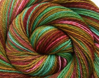 Self-striping Handspun Yarn - VICTORIAN GARDEN - Handpainted Ultrafine 15.5μ Merino wool, DK weight, 338 yards, gift for knitter