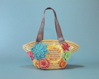 Capelli Floral STRAW Beach Bag Woven Rattan Raffia Colorful Embroidered Crochet Macrame Flowers Beaded Sequin Retro Vintage Resort Vacation