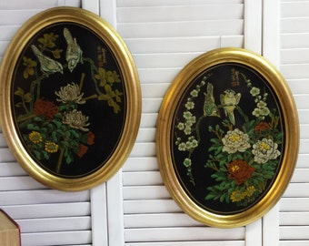 Asian Painted Lacquered Ovals Handpainted Ovals Wall Hangings