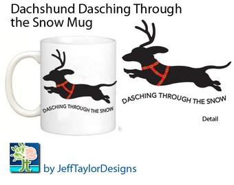Dachshund Dasching Through the Snow Coffee Mug