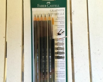 Faber-Castell Graphite Aquarelle watersoluble graphite pencil, 5 pack/ brush, HB 2B 4B 6B 8B for watercolor, art journaling, mixed media
