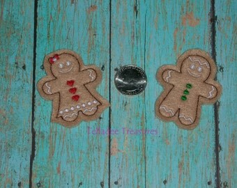 Feltie Gingerbread Girl or Boy Cookie Figure - Small Brown felt - Great for Hair Bows, Reels or Crafts - Holiday Christmas Baking