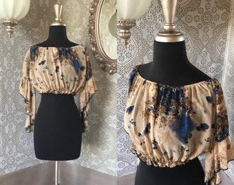 Vintage 1970's Style Sheer Floral Crop Top with Angled Sleeves Medium