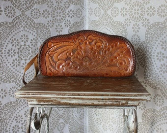 Clifton's Vintage Tooled Leather Clutch Purse