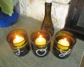 "Set of 3 Hand-Etched ""JOY"" Wine Bottle Vases / Candle Holders + Floating Candles"