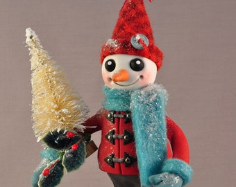Whimsical Woodland Snowman Figurine