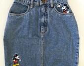 Vintage Disney High-waisted Denim Mickey Mouse Skirt-Woman XS