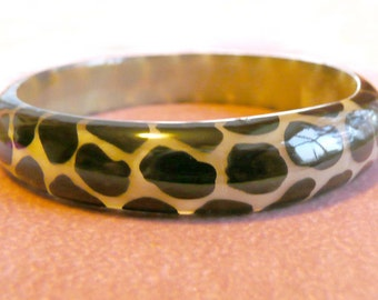 Animal Print Bangle Bracelet 1950s Vintage Black & Tan Shiny Lucite Retro