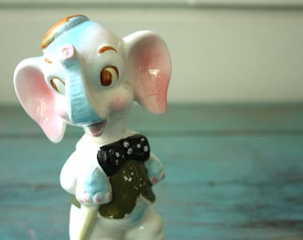 Ceramic Elephant Figurine, Vintage Elephant, Porcelain Elephant, Children's Decor