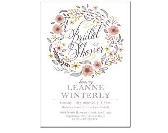 Bridal Shower Luncheon, Wedding Shower Brunch, Fall Floral, Rustic, Pink, Lace, Wreath, Peach, Bride, Printed, Vintage Elegant