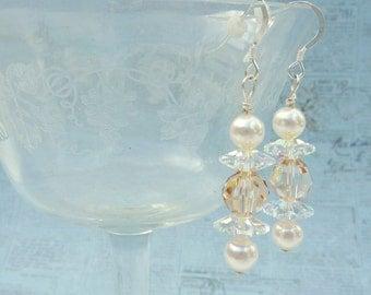 Statement Crystal Champagne Earrings, Swarovski Crystal Earrings, Champagne Wedding Earrings, Pearl Earrings