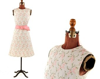 Vintage 1960's L'Aiglon White Cotton Floral Brocade Pink Embroidered Garden Party Shift Dress M