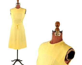 Vintage 1960's Bright Sunny Yellow Summer Linen Bow Tie Shift Garden Party Preppy Linen Dress M