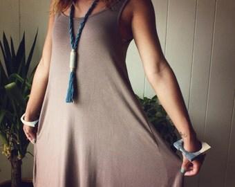 Horizon Necklace V. Tassel Necklace. Polymer Clay Pendant. Indigo