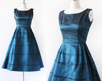 1950s Party Dress / Jonathan Logan Rhinestone Dress / 1950s Full Skirt Party Dress / Extra Small