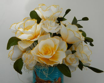 Camelia bouquet - Vintage  Style Repurposed Distressed Container- Paper flowers