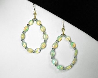 Ethiopian Opal and Iolite Earrings in Gold