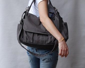 Back To School SALE - 30% Pico in Dark Grey (Water Resistant) School Bag / Shoulder Bag / Messenger Bag / Diaper Bag/Diaper Bag/ School Bag/