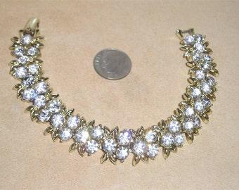 Vintage Clear Rhinestones Bracelet 1960's Signed Jewelry A32