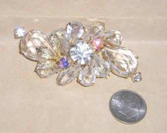 Vintage Juliana Clear And Iridescent Rhinestone Brooch 1960's Jewelry 2