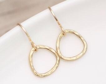 Gold Earrings, Minimalist Earrings, Hammered Gold Hoop Earrings, Round Earrings, Modern Disc Earrings, Choose size Every day Gold Earrings