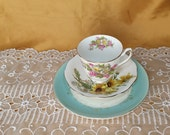 Vintage & newer Mismatched Teacup, Saucer, luncheon / salad plate, trio, Duchess, Royal Standard - shabby chic farmhouse