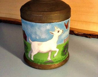 Original painting of goat kid and butterfly on vintage metal sugar container