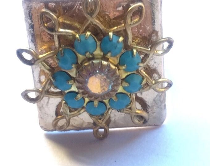 Jewelry, Rings, Vintage Swarovski Ring, Statement Rings, Women's Rings, Ring, Adjustable Rings, Filigree Ring, Antique Gold Setting
