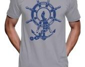 Anchor Ship Wheel T Shirt - American Apparel Tshirt - XS S M L XL and XXL (Color Options)