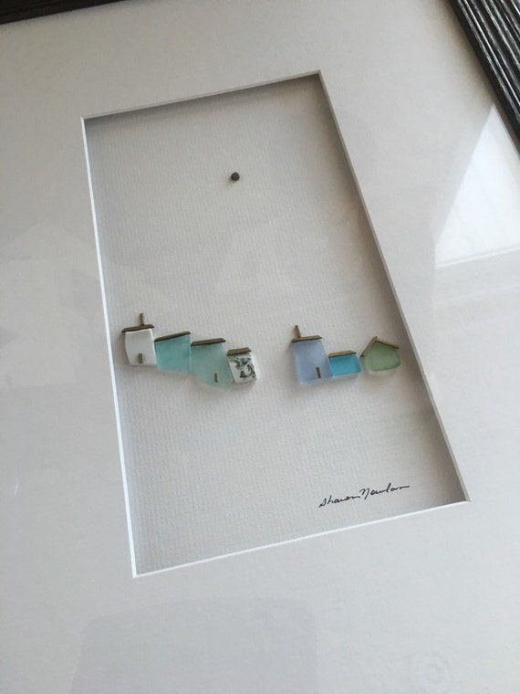 12 By 16 Framed Pebble And Sea Glass Art By Sharon Nowlan
