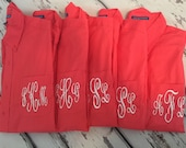 Monogrammed Coral Bridesmaid Shirt, Monogrammed Coral Button Down, Monogrammed Oversized Boyfriend Shirt, Bridesmaid Gift, Gift for Her