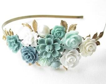 Haarreif,hair band,head band,Wedding,Bridal Headband,blue Hairband, Floral Head Piece, Romantic Flower, Boho Wedding, Woodland Chic