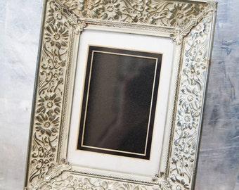 Vintage Picture Frame Silver Metal Floral Design
