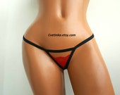 Free Shipping | EXTREME MICRO THONG Bikini | Cut Out Thong | Lace Thong | Bridal Lingerie | Black Red Lingerie | Sexy Lingerie Cut Lingerie
