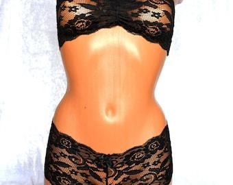 BRIDAL LINGERIE SET Black Lace Lingerie Black Lingerie Bridal Lingerie Black Lace Bralette