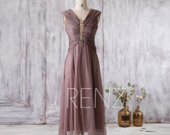 2016 Dusty Rose Bridesmaid Dress, V Neck Beaded Wedding Dress, Long Pleated Chiffon Prom Dress, Women Formal Dress Floor Length (G185)